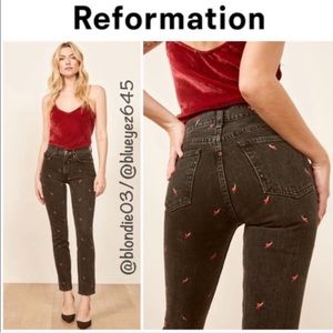 "Reformation ""Julia"" hearts high cigarette jeans 26"